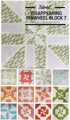 Block 7: Disappearing pinwheel quilt sampler