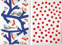 Marimekko Pakkanen and Pikkunen Tea Towel Set Marimekko, Textile Patterns, Textiles, Kingdom Of Denmark, Scandinavian Countries, My Tea, Abstract Shapes, Scandinavian Design, Baby Born