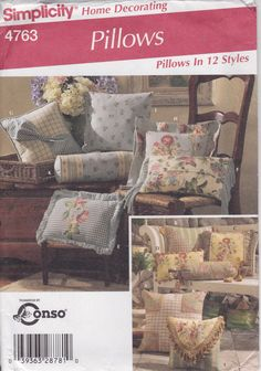 Pillow Pattern Square Roll Rectangle 12 Styles Uncut Simplicity 4763 by PrettyfulPatterns on Etsy