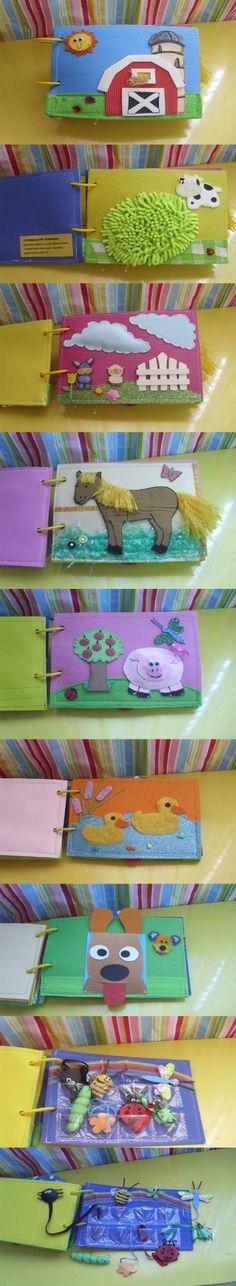 Você pode fazer um livro interativo em casa, com objetos de texturas e cores variados. Além de estimular os sentidos, ajuda a desenvolver a criatividade dos p