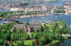 Djurgården in the foreground, other Stockholm islands in the background.