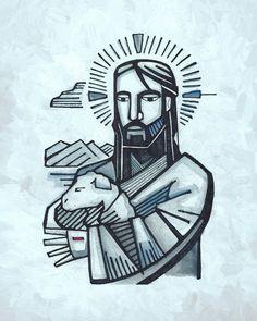 Hand drawn illustration or drawing of Jesus as Good Shepherd Christian Drawings, Christian Artwork, Christian Symbols, Catholic Art, Religious Art, Jesus Drawings, Prophetic Art, Jesus Art, The Good Shepherd