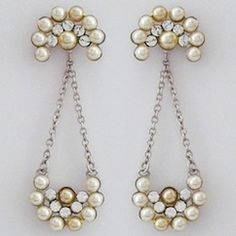 Paris bridal jewelry designed by Debra Moreland. Juniper Tree vintage pearl bridal earrings, classic, with a bohemian chic vibe.