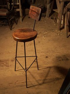Reclaimed Oak Bar Stools with Industrial Legs and Back Rest by Barn Wood Furniture.