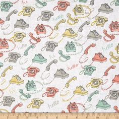 Talk To Me Rotary Phones White from @fabricdotcom  From Ink and Arrow Fabrics, this retro cotton print fabric features rotary telephones in pastel shades and is perfect for quilting, apparel, and home decor accents. Colors include white, grey, mint green, yellow, and coral.