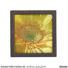 Sunshine Yellow Gerbera Daisy Premium Trinket Boxes