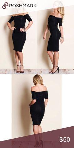 "Black Off The Shoulder Dress Gorgeous black off the shoulder dress!  Material: 60% cotton, 35% rayon, 5% spandex  Small: Medium: Large: armpit to armpit, 16,"" hips, 17,"" length, from neckline to bottom hem, 39"" Aluna Levi Dresses Midi"