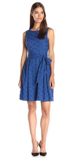 Anne Klein Women's Novelty Self Sash Eyelet Fit and Flare Dress