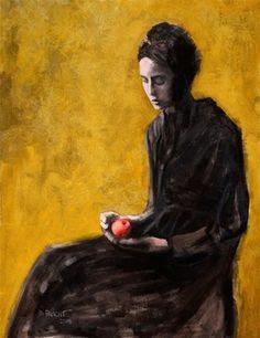 Woman Holding an Apple, Michael Pracht, Oil on canvas, 2015 : Art