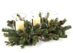 $139.99-$195.99 From the Christmas Greens Collection Item #41038 Bring a festive glow of color into your home this holiday season with these nature inspired traditional pine and pine cone centerpiece candle holders. Each centerpiece features (3) clear glass globe hurricane candle holders. Each centerpiece holds (3) pillar candles - candles shown are NOT included  Perfect for winter weddings Dime ...