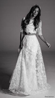 rime arodaky fall 2017 bridal half sleeves bateau neckline full embellishment crop top lace skirt bohemian romantic modified a  line wedding dress sheer back sweep train (10) mv