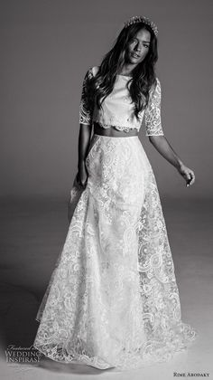 rime arodaky fall 2017 bridal half sleeves bateau neckline full embellishment crop top lace skirt bohemian romantic modified a  line wedding dress sheer back sweep train (10) mv