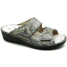 This sandal by Finn Comfort in Mushroom Snake.