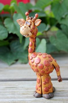 Giraffe Polymer Clay Sculpture by MirandasCritters