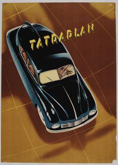One Sheet, Czechoslovakia, Automobile, circa 1950's, Artist: Neubert, Vintage Poster