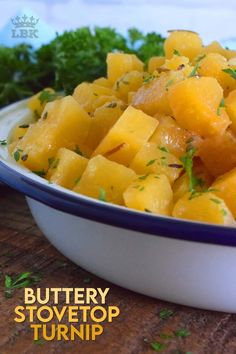Buttery Stovetop Turnip is a simple vegetable side dish prepared with dried herbs from your spice rack. This side is rich in flavour, yet very inexpensive and budget-friendly. #turnip #stovetop #butter #rutabaga #vegetable #side