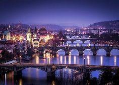 Rzeka, Mosty, Zdjęcie, Miasta, Latarnie, Czechy, Praga