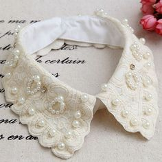Elegant Retro Women Lace Pearl Removable False Fake Collar Chokers Necklaces in Other   eBay