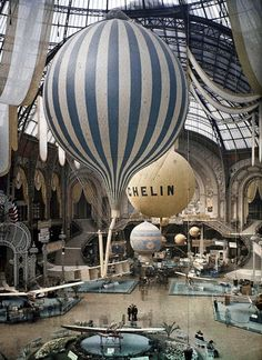 The first air show at the Grand Palais in Paris, France. September 30th, 1909. Photographed in Autochrome Lumière by Léon Gimpel