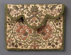 Pocketbook 1675–1725 DIMENSIONS Overall: 11.4 x 14 cm (4 1/2 x 5 1/2 in.) MEDIUM OR TECHNIQUE Silk; embroidered with silk and metallic yarns