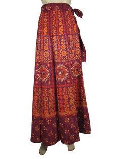 Amazon.com: Bohemian Wrap Skirt Maroon Sun Moon Print Cotton Wrap Sarong Dress: Clothing