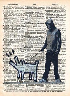 Banksy Man walking dog, Bankys art print, dictionary art - - 1