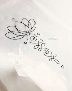 Mini Tattoos, Little Tattoos, Flower Tattoos, Body Art Tattoos, Tatoos, Unalome Tattoo, Lottus Tattoo, Lotus Flower Tattoo Meaning, Ornamental Tattoo