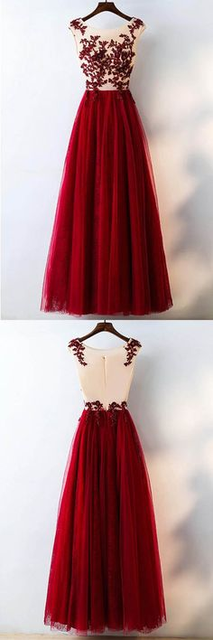 Formal Red Sequined Tulle Prom Dress Long With Lace PG632 #promdress #longprom #eveningdress #tulle #aline #red #pgmdress