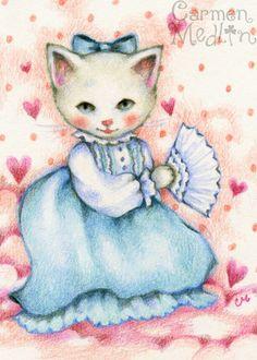 Vintage Beauty - cute cat art by Carmen Medlin