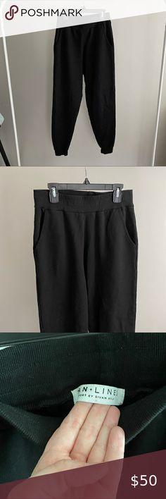 Tan + Lines Sport La Jolla Jogger Pre shrunk Size M  Black High waisted joggers with pockets Tan + Lines by Sivan Ayla Pants & Jumpsuits Track Pants & Joggers Tan Lines, La Jolla, Pant Jumpsuit, Joggers, Jumpsuits, Track, Pockets, Sports, Closet