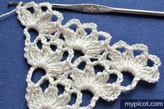 Step by step picture and chart CROCHET tutorial for a shawl.