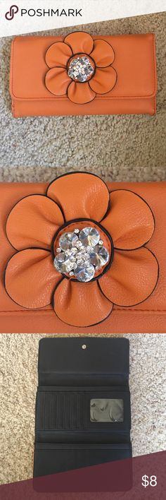 Orange Fashion Wallet! Orange Rhinestone Flowered Fashion Wallet! Lots of room and compartments for cards, change, and money! 5 inches x 8 inches. Small signs of leather wear, pictured but lots of life in this product! Bags Wallets
