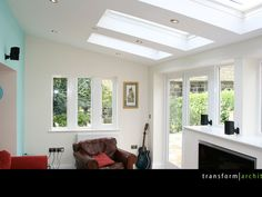 Love this but longer windows so sills are seatsx with space for wheelchair Lean-to extension exposed soffit and roof lights Conservatory Interiors, Lean To Conservatory, Conservatory Decor, Bungalow Extensions, Garden Room Extensions, House Extensions, Kitchen Extensions, Open Plan Kitchen Living Room, Open Plan Living
