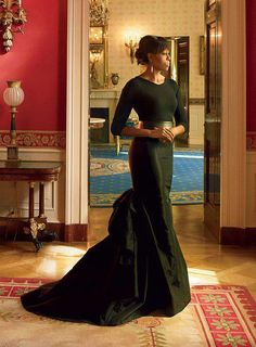 Michelle Obama posing for her First Lady Portrait