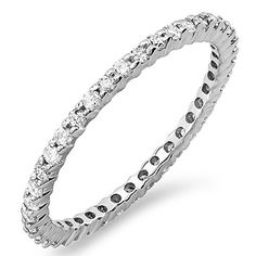 055 Carat ctw Dainty 15 mm 14k White Gold Round Diamond Ladies Eternity Anniversary Stackable Ring Wedding Band 12 CT Size 65 -- More info could be found at the image url.(This is an Amazon affiliate link)