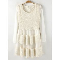 Fashionable Scoop Collar Lambswool Grenadine Splicing Sequin Waisted Long Sleeves Blended Women's Dress