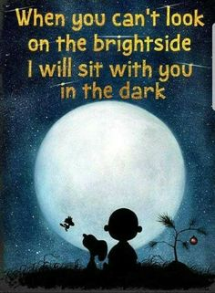 """Saying Snoopy & Charlie Brown """"When you can't look on the bright side"""" Home Decor Print,Great Gift Child Birthday, Office Art,Nursery Print - Funny Positive Quotes, Motivational Quotes, Funny Quotes, Inspirational Quotes, Peanuts Quotes, Snoopy Quotes, Phrase Cute, Great Quotes, Love Quotes"""