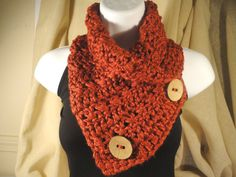 Crochet Scarf Cowl Neck Warmer with Buttons by VillaYarnDesigns