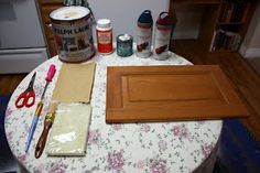 DIY- turn old cabinet doors into antiqued wall hangings!