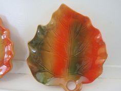 Set of Two, Mid Century, Leaf Dishes, Orange, Green, Ceramic