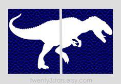 TRex Chevron Diptych Set of 2 Art Prints Perfect by twenty3stars, $17.00