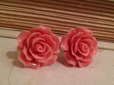Pink Rose Plug Earring 6 Gauge 4 MM by SheMused on Etsy, $19.00