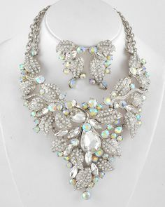 Clear & Ab Rhinestone / Clear Glass / Leaf Necklace & Post Earring Set $52.00