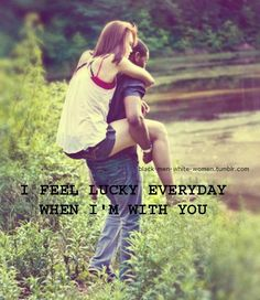 "Interracial love quotes - I feel lucky everyday when I'm with You."" Interracial couple."