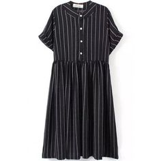 LUCLUC Black Striped Short Sleeve Dress (115 PLN) ❤ liked on Polyvore featuring dresses, striped dress, short sleeve dress, short-sleeve dresses, stripe dresses and short sleeved striped dress