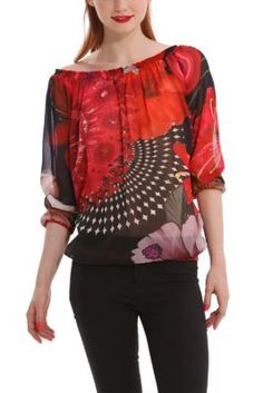 Desigual women's Reo blouse made entirely out of semi-sheer gauze fabric. The neck, cuffs and hem are gathered and elasticated.