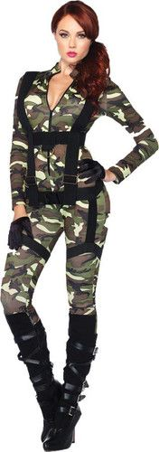 sexy pretty paratrooper army military adult womens halloween costume brand new 3995 - Halloween Army Costumes
