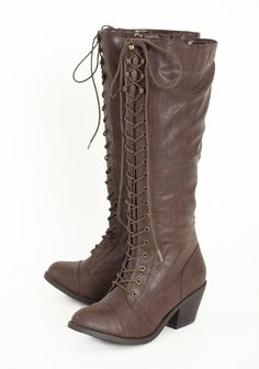 "Countryside Adventure Lace Up Boots In Brown 68.99 at shopruche.com. Fall in love with these molasses-hued leatherette boots crafted with lace up details, side zipper closures, and a faux stacked heel.All man-made materials, 2.5"" heel, 15.25"" shaft"