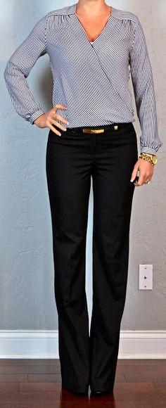 Pantalón negro recto blusa traslapada gris