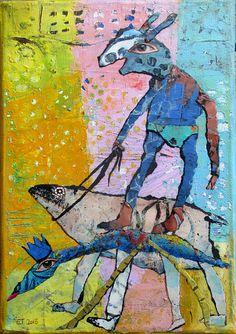 56 Elke Trittel acrylic collage on canvas 17/24cm